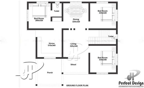 3 bedroom house plans in 1000 sq ft 1000 square feet 3 bedroom single floor modern home design