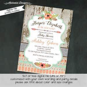 tribal baby shower invitation boho bridal shower wedding arrows feathers wood gender neutral