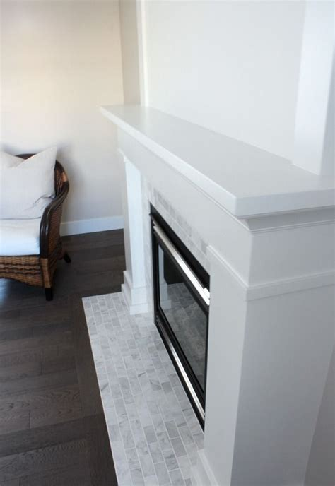 white marble fireplace  makeover details