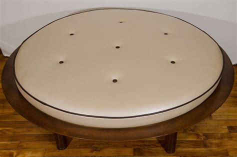 round leather and wood ottoman mid century danish modern round leather and wood ottoman