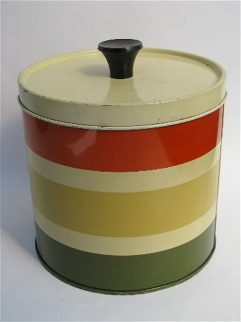 canister sets for kitchen counter yellow vintage canisters 60s vintage striped metal kitchen canisters retro