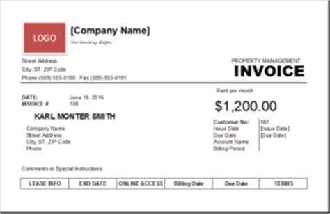 Property Management Invoice Template Excel Invoice Templates Property Management Invoice Template