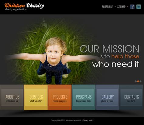Children Charity Organization Html5 Template 300111291 On Behance Free Website Templates For Charity Organization