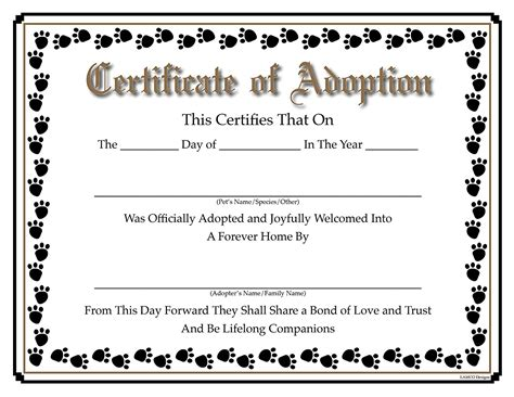 blank adoption certificate template blank adoption certificate 9 town ken more