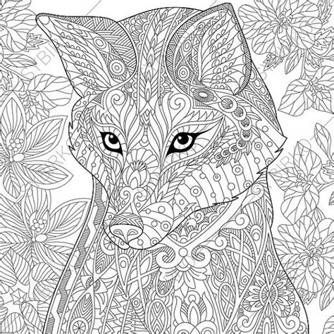 coloring pages for adults fox fox coloring page zentangle doodle by