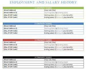 Employment History Template by Free Templates Forms March 2015