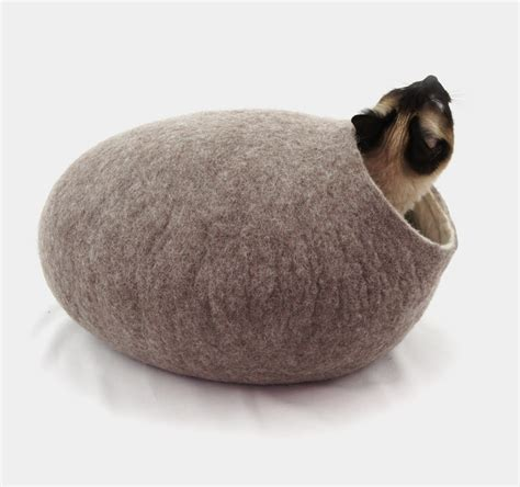 cat igloo bed cat cave bed house igloo nap cocoon from natural wool felt home