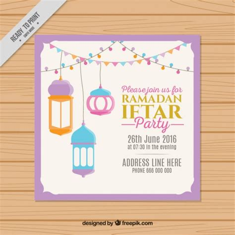 ramadan invitation card template ramadan iftar invitation vector free