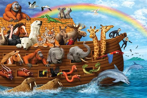 noah s ark boat with animals 36pc noah s ark jigsaw puzzle cobble hill puzzle company