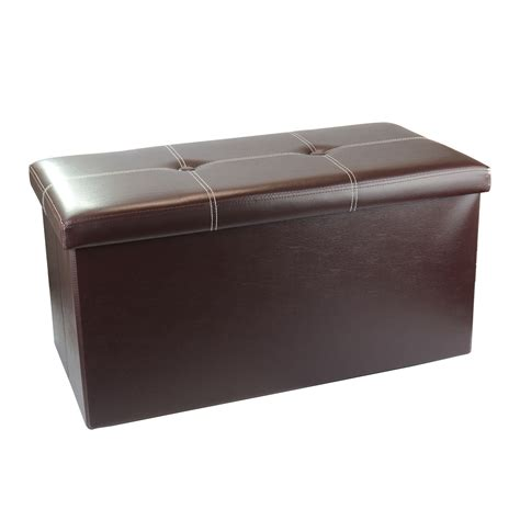 large brown faux leather ottoman large folding faux leather ottoman storage chest blanket