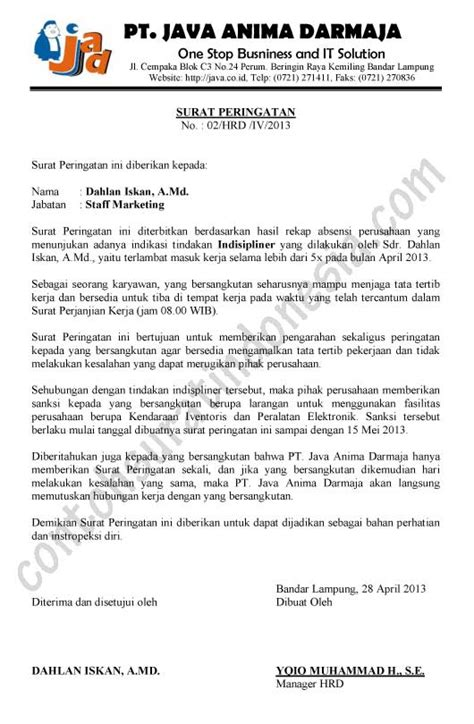 surat peringatan contoh surat indonesia the knownledge