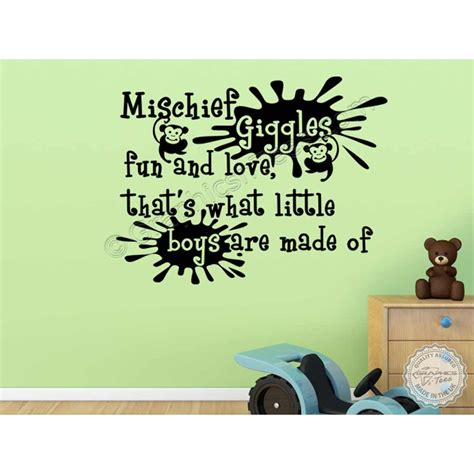 nursery wall sticker quotes baby boys nursery wall sticker quote bedroom wall decor decal mischief giggles and