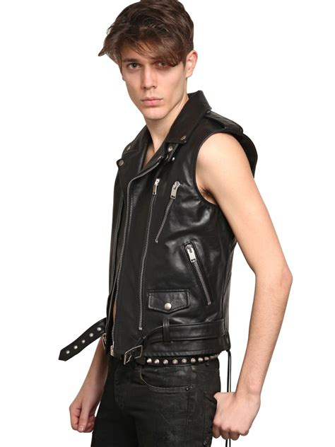 black leather biker lyst saint laurent leather biker vest in black for men