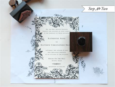 diy rubber st floral wedding invitations