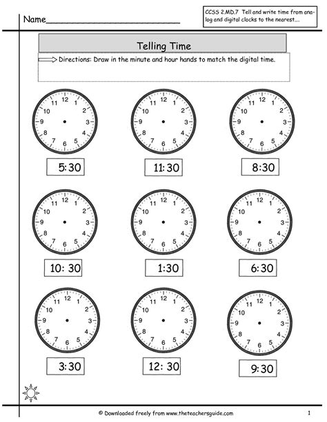 clock worksheets hour and half hour telling time to nearest half hour worksheet math