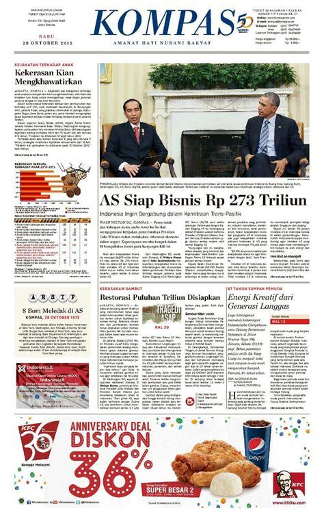 Kerang Kupas jual koran kompas pagi 28 oktober 2015 gramedia