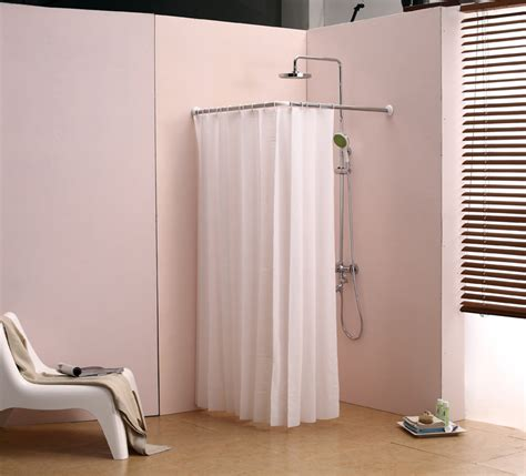 l bathroom curtain cloth hanging rod corner shower curtain