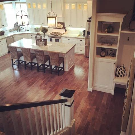 kitchen with big island kitchen love pinterest love the flow of this house with the open white kitchen