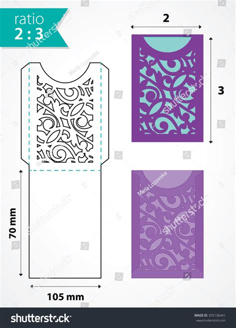 Cards And Pockets Weddin Template by Die Cut Pocket Envelope Template With Cutout Pattern