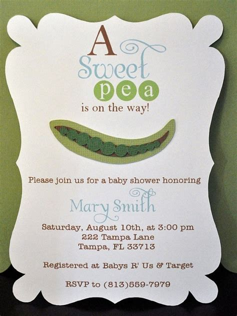 Free Sweet Pea Baby Shower Invitations by Baby Shower Invitation Sweet Pea Baby Shower By Robin519