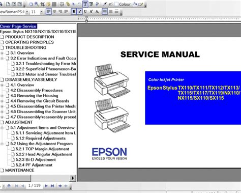 reset epson tx121x manual epson stylus nx110 nx115 sx110 sx115 tx110 tx111