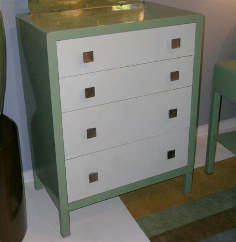 Metal Dressers For Sale by Norman Bel Geddes For Simmons Enameled Metal Dresser For