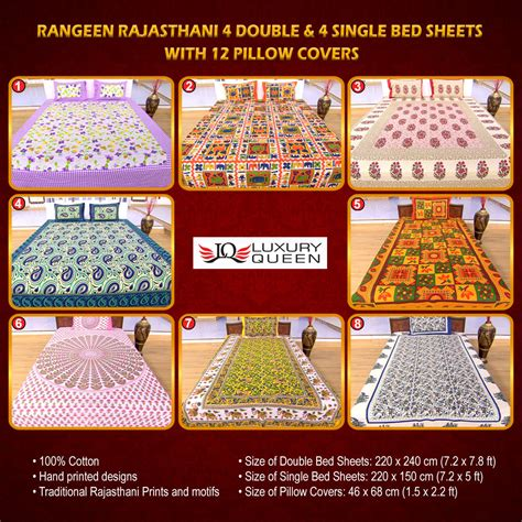 best sheets online buy rangeen rajasthani 4 double 4 single bed sheets with