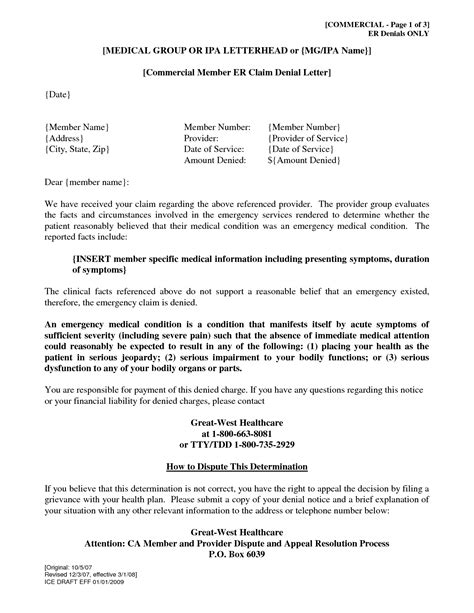 Insurance Claim Letter Format best photos of sle letter denying a claim insurance