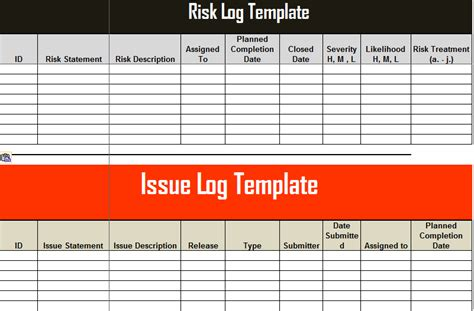 get risk and issue log template excel free project