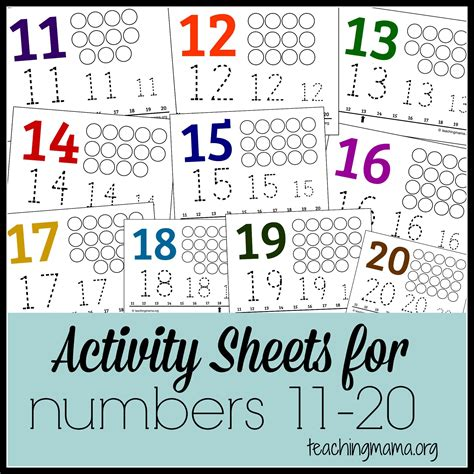 free printable math worksheets for numbers 11 20 activities for numbers 11 20