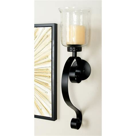 Wrought Iron Candle Sconce by Litton 27 In Wrought Iron Candle Sconce With Glass