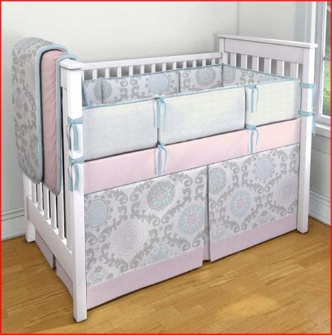 Pink Gray And Aqua Damask Medallion Crib Bedding Set Via Aqua And Pink Crib Bedding