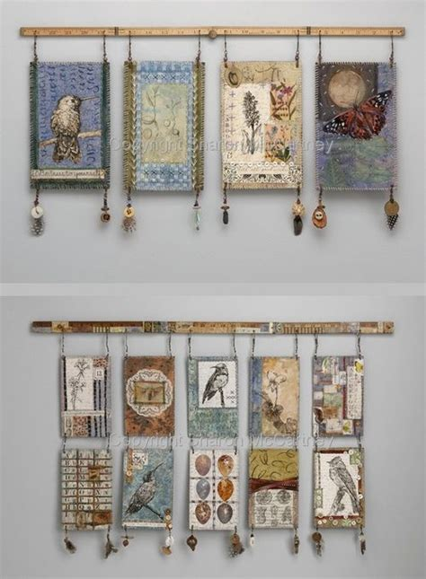 how to hang wall art mixed media wall hangings by textile artist sharon