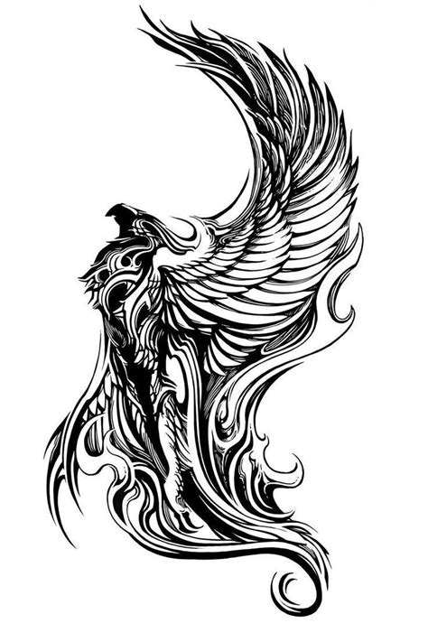 black and white phoenix tattoo designs breathtaking black and white flying design
