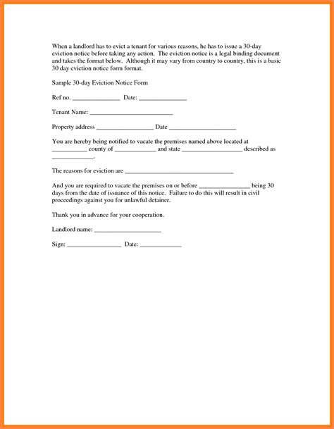 template eviction notice 6 30 day eviction notice pdf notice letter