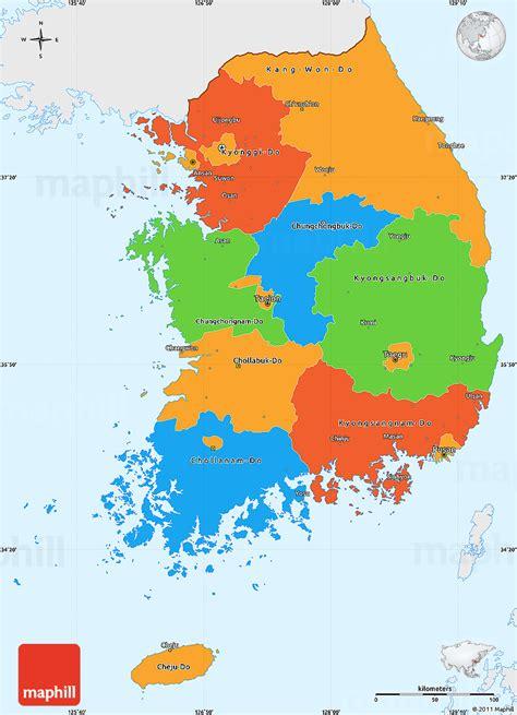 korean map political simple map of south korea single color outside