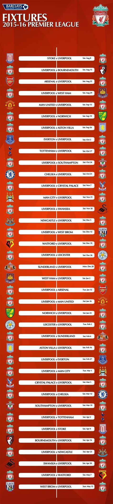 epl jadwal jadwal lengkap pertandingan liverpool fc musim 2015 2016