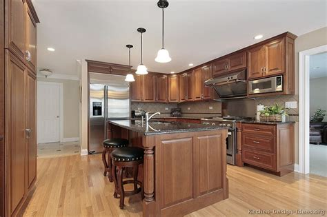 Brown Cabinets Kitchen | pictures of kitchens traditional medium wood cabinets