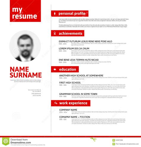 Free Typographic Resume Template Cv Resume Template With Typography Stock