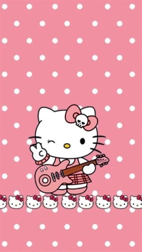 hello kitty wallpaper roll ℋell 216 kitty rock n roll quot r 248 se 224 petit pois blanc quot hell 216