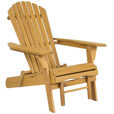 outdoor adirondack wood chair foldable  pull  ottoman patio deck furniture ebay