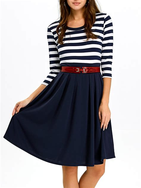 Dress Cassual casual dresses purplish blue a line striped dress gamiss