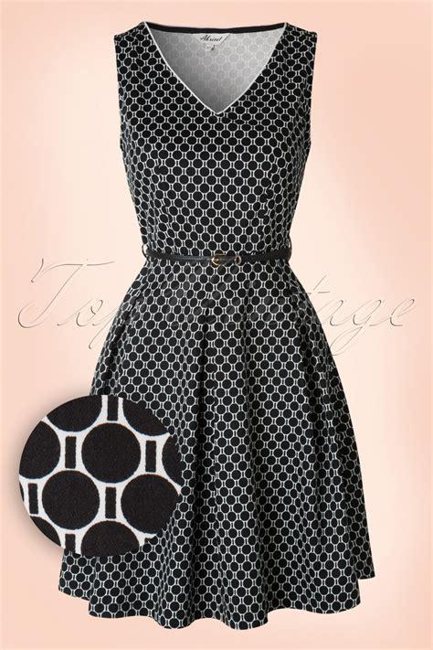 60s swing dress 60s louna swing dress in black and white