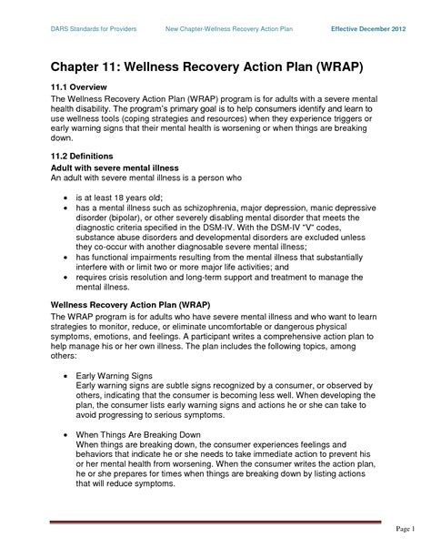 Wrap Mental Health Chapter 11 Wellness Recovery Action Plan Wrap Psych Wrap Pinterest Wrap Crisis Plan Template