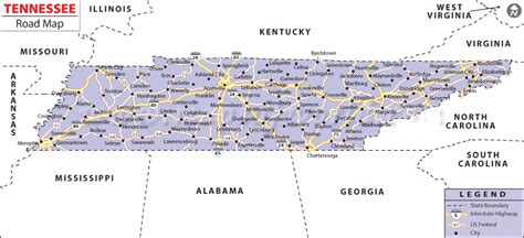 map of tennessee cities map of tennessee state map of usa