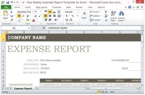 Free Weekly Expenses Report Template For Excel Free Weekly Expenses Report Template For Excel