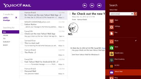 Email Search On With The New Yahoo Mail App For Windows 8 Ios Android
