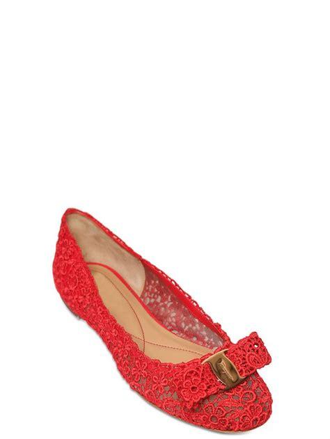 Flatshoes Ferragamo Import 19 ferragamo varina bow lace flats in lyst