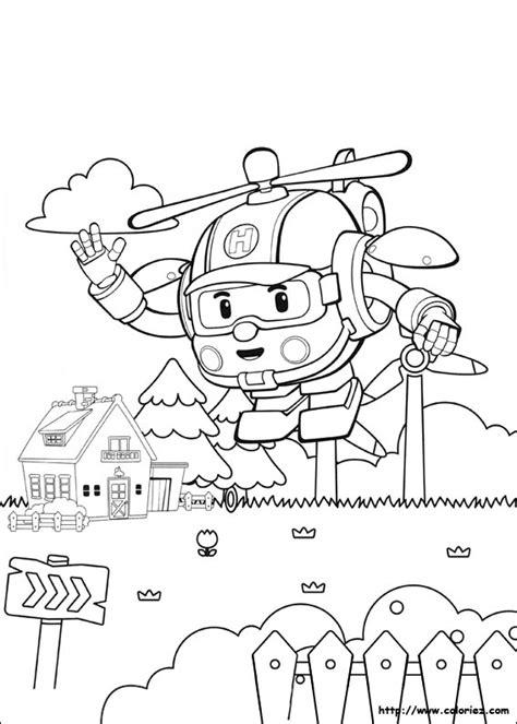 Buku Anak Coloring Robot Gambar Gunting Warnai 5 Dessins De Coloriage Robocar Poli Heli 224 Imprimer