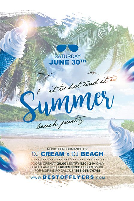 Summer Party Free Poster And Flyer Template For Club And Party Events Summer Poster Template